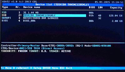 サブのノートPCはAHCIモードでも正常に起動