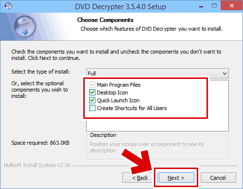 DVD Decrypter のインストール方法3:インストールするコンポーネントを選択