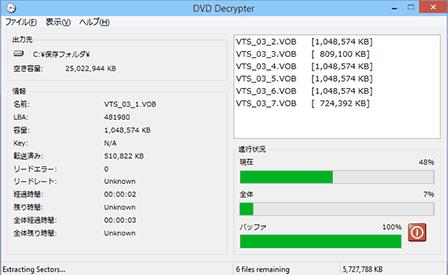 DVD Decrypterの使い方: コピー中の画面