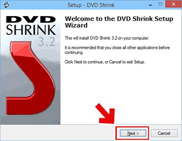DVD Shrinkのセットアップ用ウィザード起動画面