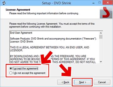 DVD Shrinkのライセンス同意画面
