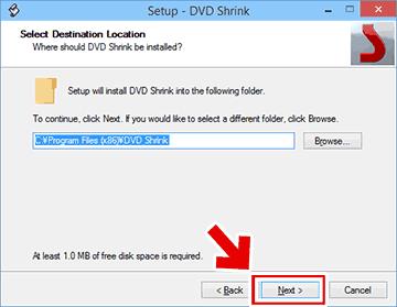 DVD Shrinkのインストール先を決定する画面