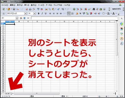 OpenOffice Calcのタブが隠れた状態