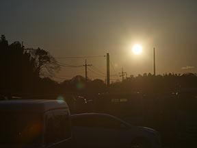 夕日、逆光はフレアとゴースト6