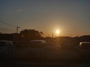 夕日、逆光はフレアとゴースト4