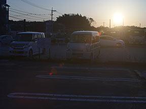 夕日、逆光はフレアとゴースト3