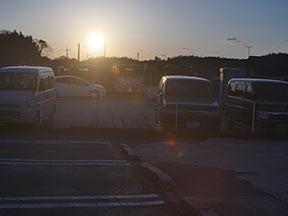夕日、逆光はフレアとゴースト2