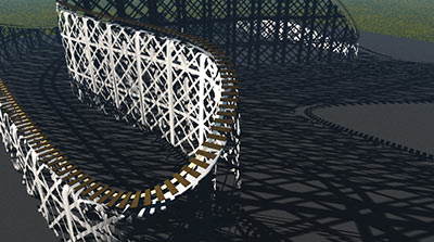 (覚え書き)Vueのスプラインで鉄橋を作る/道路を作る