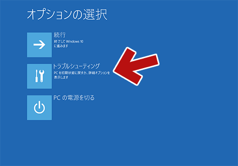 「オプションの選択」画面