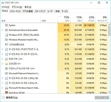 Windows10が重い、CPU使用率が高い、HDDのアクセスが100%になる