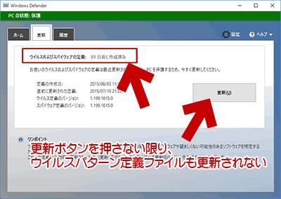 ウイルスパターン定義ファイルも更新されない