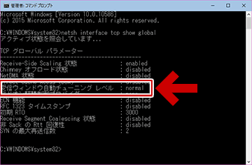 netsh interface tcp show global