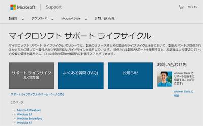 マイクロソフト サポート ライフサイクル
