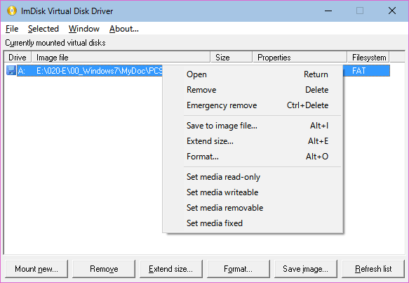 ImDisk Virtual Disk Driverのメニュー、操作方法