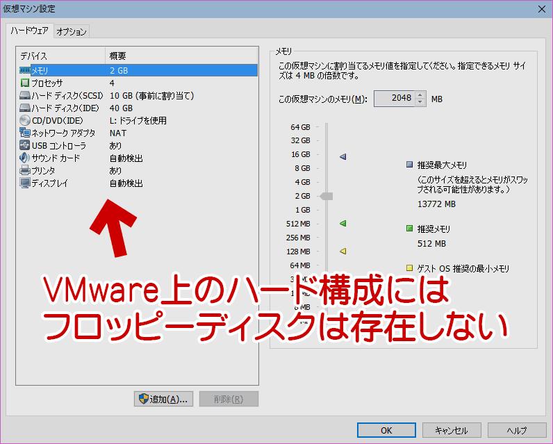 管理画面上ではフロッピーディスクは存在していない