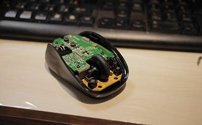 マウスの分解清掃中
